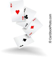 piszkavas kezezés, négy, kártya, kitűnőség, játék