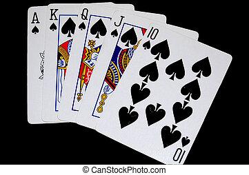piszkavas, királyi, elszigetelt, játék, pirul, kártya, játék