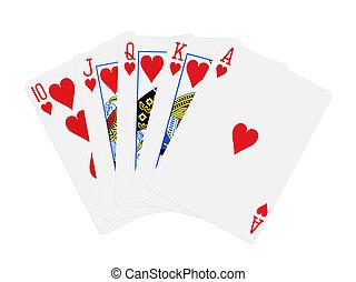 piszkavas, királyi, elszigetelt, pirul, kártya, piros, fehér