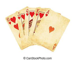 piszkavas, szüret, királyi, elszigetelt, kopott, pirul, kártya, piros, white out