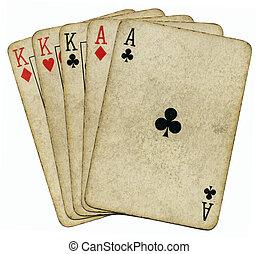 piszkavas, telt ház, felett, elszigetelt, kitűnőség, white., szüret, kártya, király