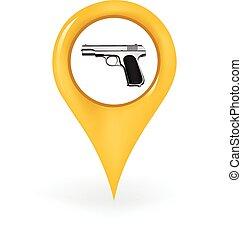 pisztoly, elhelyezés