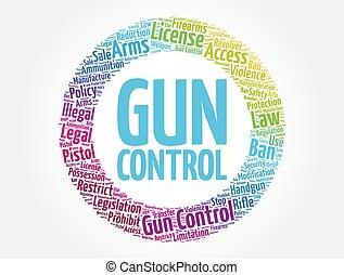 pisztoly, felhő, fogalom, szó, ellenőrzés, háttér, kollázs