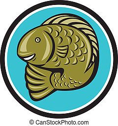 pisztráng, fish, ugrás, karika, karikatúra