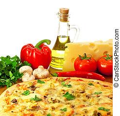 pizza, összpontosít, alkatrészek