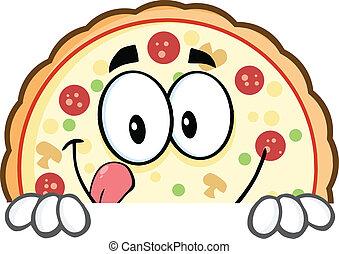 pizza, aláír, felett, mosolygós