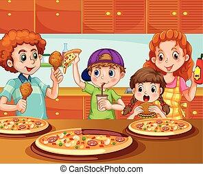 pizza, birtoklás, család, konyha