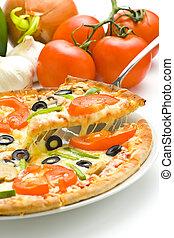 pizza, házi készítésű, friss, paradicsom, sajt, gomba, olajbogyó