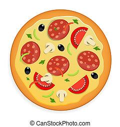 pizza, vektor, illustration., ikon