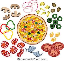 pizza, vektor, tervezés, -e, alkatrészek