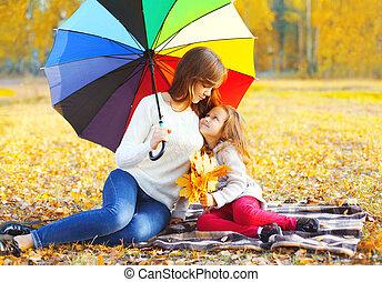 pléd, esernyő, ülés, anya, napos, együtt, ősz, gyermek, mosolygós, nap, boldog