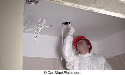 plafon, tervező, bevezetés, elektromos, gyártás, kilyukaszt, plasterboard, ember
