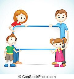 plakát, család, vektor, birtok, boldog, 3