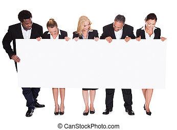 plakát, csoport, businesspeople, birtok