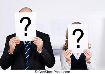 plakát, hivatal, arc, kérdez, businesspeople, megjelöl, birtok, cégtábla, elülső