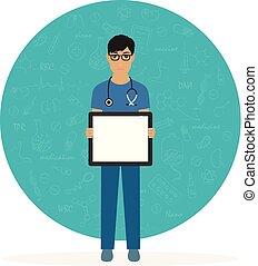plakát, orvos, fiatal, tiszta, üres, szemüveg
