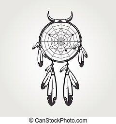 plakátok, háttér., vektor, indiai, badges., tetovál, elszigetelt, artwork, fehér, -e, ábra, fogójátékos, álmodik