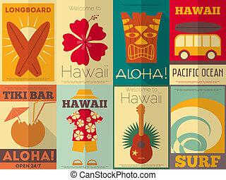 plakátok, retro, gyűjtés, hawaii