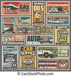 plakátok, retro, vektor, autó, alkatrészek, autó szolgáltatás