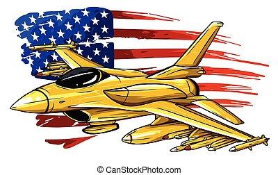 plane., vektor, multirole, variable-sweep, twin-engine, vadászrepülőgép, aircraft., karikatúra, küzdelem, szárny