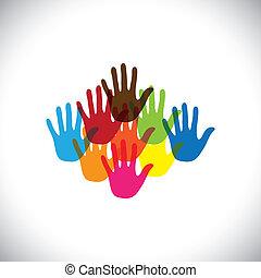 play-school, fogalom, színes, &, ez, graphic., birtoklás, ábra, kisgyermek, móka, gyerekek, vektor, együtt, together-, hand(palm), icons(signs), játék, gyerekek, boldog