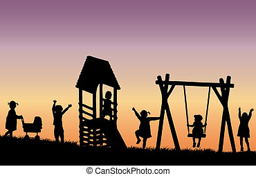 playground., gyerekek