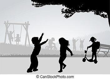 playground., játék, gyerekek