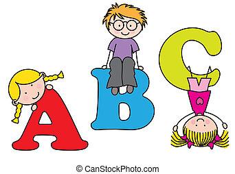 playing., abc, gyerekek