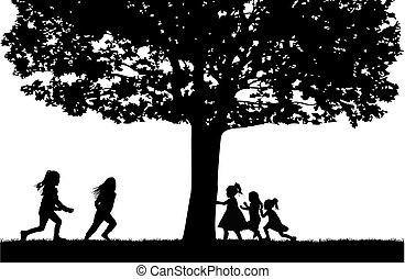 playing., körvonal, gyerekek
