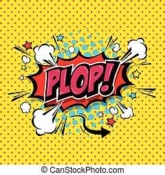 plop!, text., komikus, kifejezés, vektor