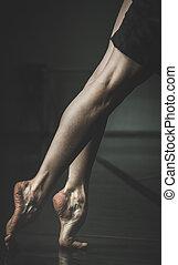 poén, balerina, műterem, mezítláb, n betű