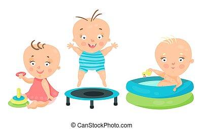 pocsolya, úszás, apró, állhatatos, totyogó kisgyerek, ülés, játék, vektor, ábra