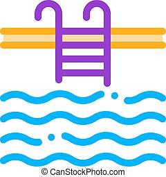 pocsolya, aláír, híg, víz, úszás, vektor, egyenes, ikon