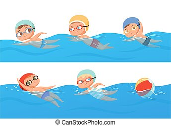 pocsolya, gyerekek, swimming., nyár, boldog, sport, besorol, gyerekek, úszás, vektor, gyűjtés, állhatatos, víz