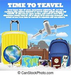 poggyász, utazás, bőrönd, táska, idő, repülőgép