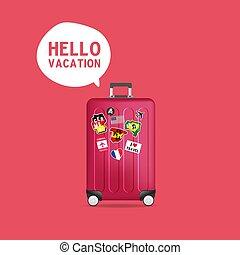 poggyász, utazás, szünidő, labels., gyakorlatias, böllér, suitcase., szia, piros