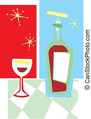 pohár bor, retro, #2