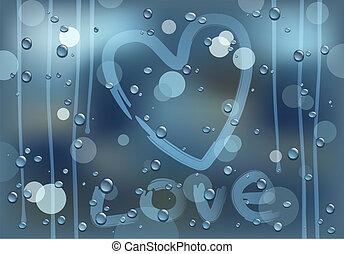pohár, esős, szeret