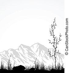 pohár, fa., hegyek, táj