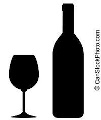 pohár, fekete, palack, bor