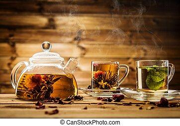 pohár, háttér, csészék, fából való, ellen, teáskanna, tea