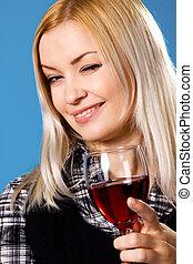 pohár, nő, fiatal, vörös bor