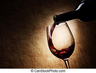 pohár, piros palack, bor