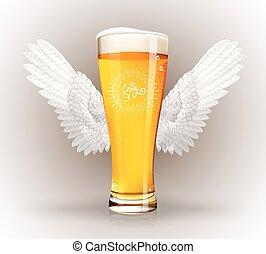 pohár, sör, kasfogó, angyal
