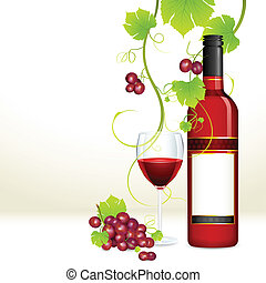 pohár, szőlő, palack, bor