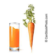 pohár, szerves, friss, vegetable., sárgarépa juice