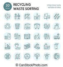 pohár, vezetőség, szemét, újra feldolgozható, dolgozat, brosúra, ikon, pictogram, -, vektor, kiválasztás, műanyag, lineáris, editable, ütés, egyenes, hulladék, modern, metal., collection., recycling., poszter