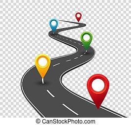 pointers., utazás, ügy, út, kanyargás, infographics., siker, előrehalad, fogalom, gombostű, way.