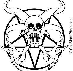 pokol, -, pentagram, aláír