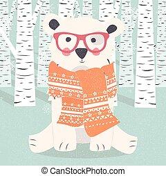 poláris, levelezőlap, hord, csípőre szabott, erdő, vidám, white christmas